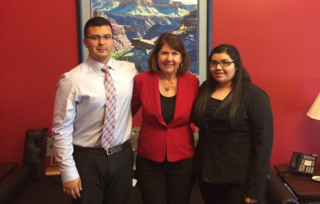Alec Moreno and Yaritza Vasquez with Rep. Ann Kirkpatrick