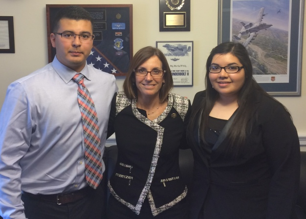 Alec Moreno and Yaritza Vasquez with Rep. Martha McSally