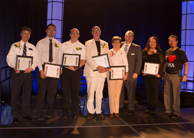 Carl Englander, Pedro Flores-Gallardo, Ed Gallagher, David Bishop, Amy Cramer, Ph.D., Anthony Sovak, Ph.D., and Dolores Durán-Cerda, Ph.D., winners of outstanding staff/faculty/administrator awards